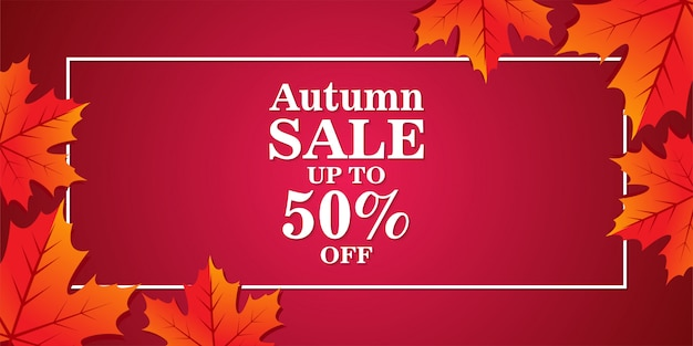 Autumn sale banner with leaves