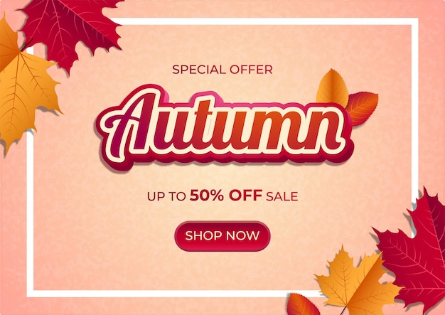 Autumn sale banner with maple leaves on gradient background