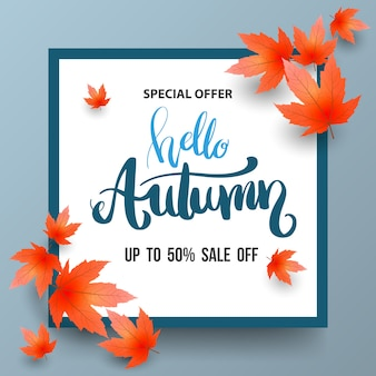 Autumn sale banner with maples