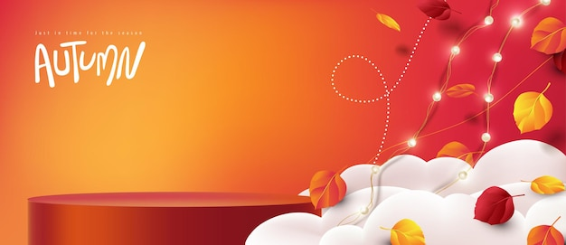 Autumn sale banner with product display cylindrical shape decorate autumn leaves falling in sky
