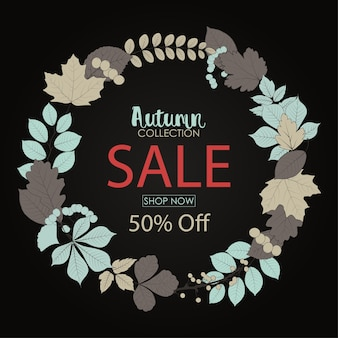 Autumn sale banner with round frame leaves