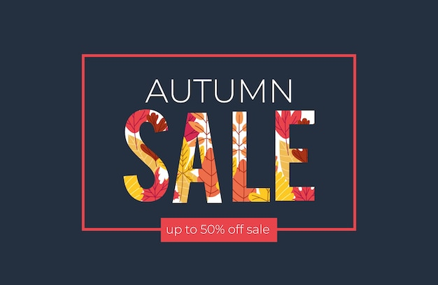Autumn sale banner with text and leafs