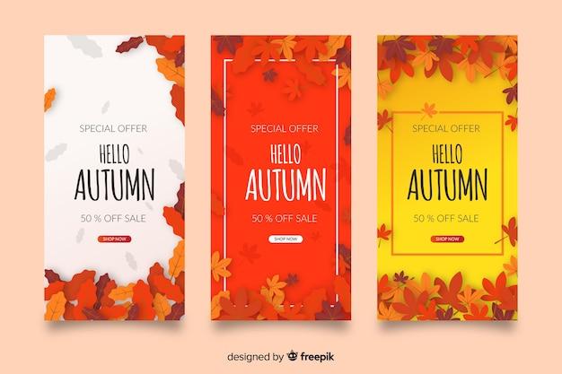 Autumn sale banners flat design