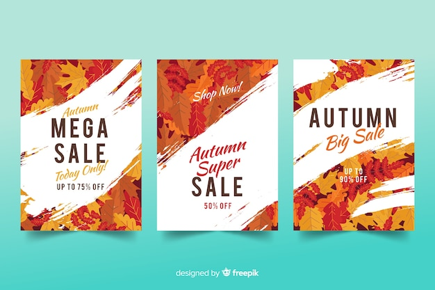 Autumn sale banners flat design