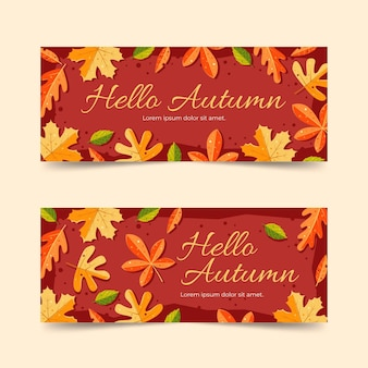 Autumn sale banners in flat design