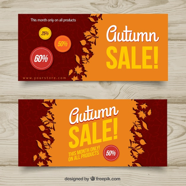 Autumn sale banners in flat style