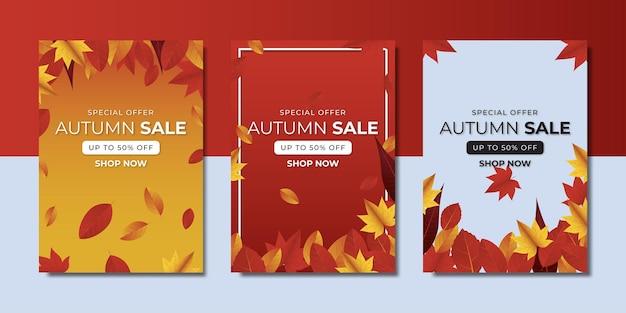 Осенняя распродажа баннеров. премиум векторы