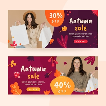Banner di vendita autunnale con foto