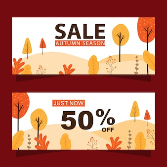 Autumn sale banners set