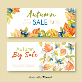 Autumn sale banners watercolor style