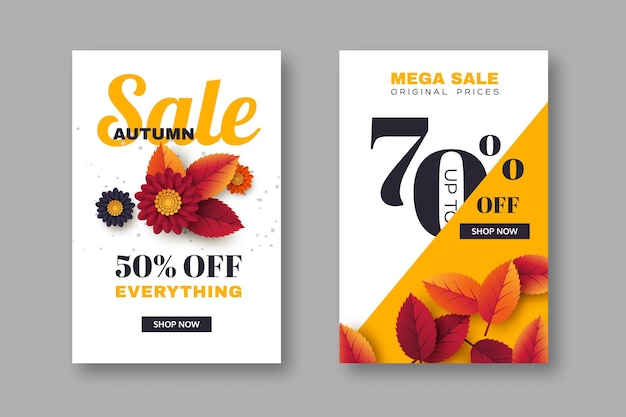 Autumn sale banners with 3d leaves and flowers. yellow, white background - template for seasonal discounts, vector illustration.