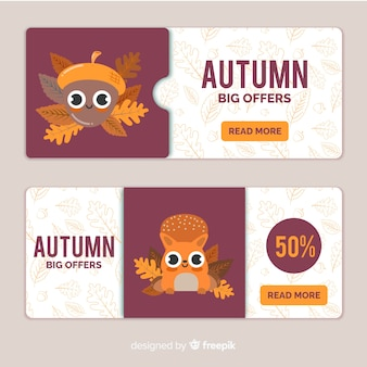 Autumn sale banners with cute characters
