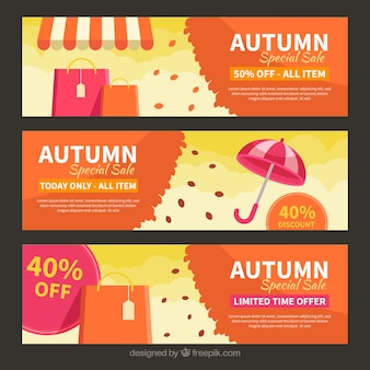Autumn sale banners with flat design