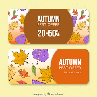 Autumn sale banners with leaves