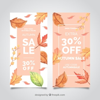 Autumn sale banners with realistic leaves
