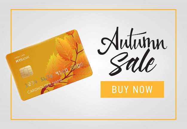 Autumn sale, buy now lettering with credit card in frame