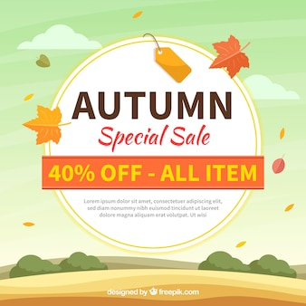Autumn sale composition with flat design