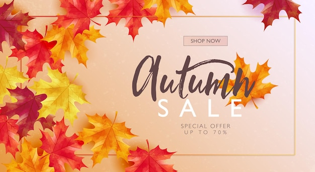 Autumn sale concept banner with falling maple leaves on pastel gradient background
