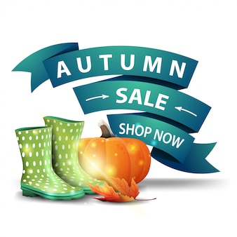 Autumn sale, discount clickable web banner in the form of ribbons with rubber boots and pumpkin