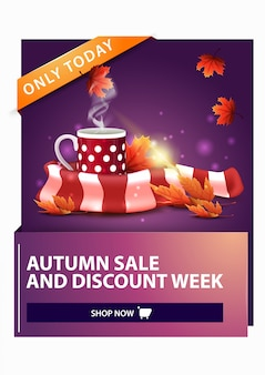Autumn sale, discount vertical web banner with mug of hot tea and warm scarf