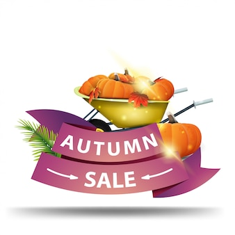 Autumn sale, discount web banner in the form of ribbons