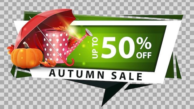 Autumn sale, discount web banner in geometric style with garden watering can
