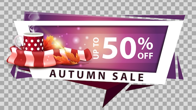 Autumn sale, discount web banner in geometric style with mug of hot tea and warm scarf
