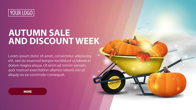 Autumn sale and discount week, creative pink discount web banner