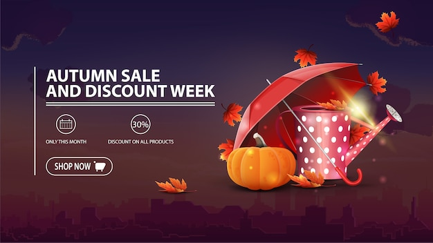Autumn sale and discount week, discount banner with city