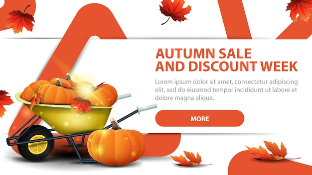 Autumn sale and discounts week, modern discount banner