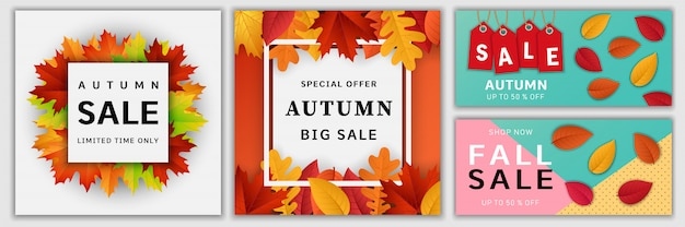 Autumn sale fall banner set
