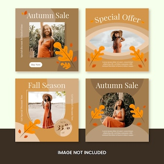 Осенняя распродажа осенний сезон instagram пост коллекция шаблон