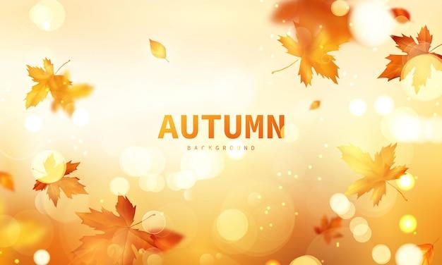 Autumn sale falling leaves background nature Premium Vector