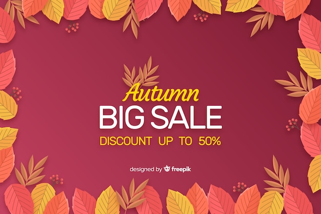 Autumn sale flat background template