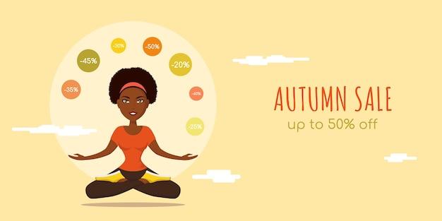 Осенняя распродажа плоский баннер концепции. симпатичная женщина в позе йоги, бегая трусцой со скидочными знаками.