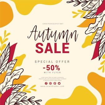 Autumn sale hand drawn with leaves