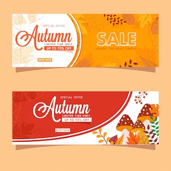 For autumn sale header or banner  in two color option.