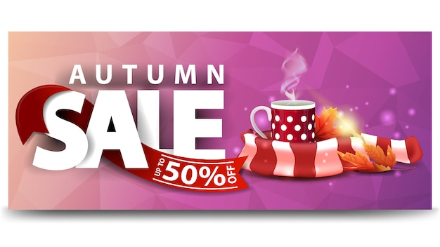 Autumn sale, horizontal discount web banner for your website