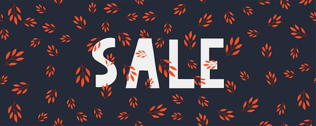 Autumn sale illustration banner vector fall lettering card
