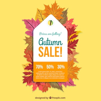 Autumn sale label in flat style