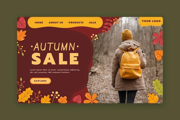 Modello di pagina di destinazione di vendita autunnale con foto