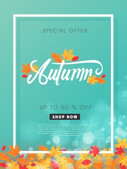 가을 판매 레이아웃은 쇼핑 판매 또는 프로모션 포스터 및 프레임 전단지 템플릿을위한 잎으로 장식합니다.