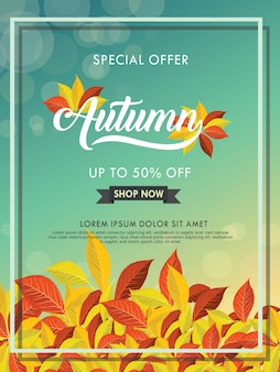 Autumn sale  layout decorate with leaves for shopping sale or promo poster and other users