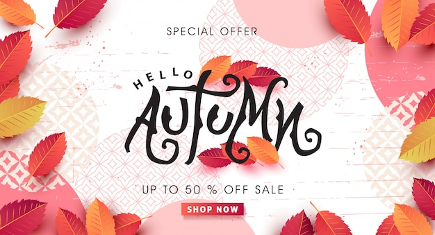 Autumn sale layout decorate with leaves for shopping sale web banner.