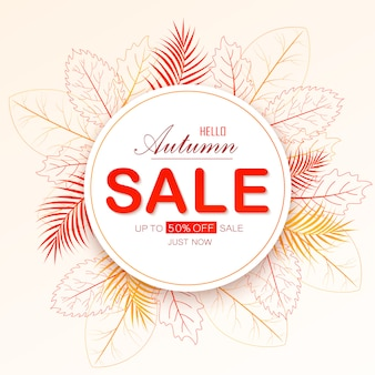 Autumn sale layout decorate with leaves for shopping sale.