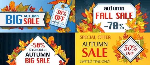Autumn sale leaves. halloween and thanksgiving fall season banner concept set