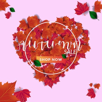 Autumn sale and leaves heart shape banner