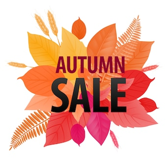 Autumn sale lettering on bright leaf background. creative inscription with gradient changing.