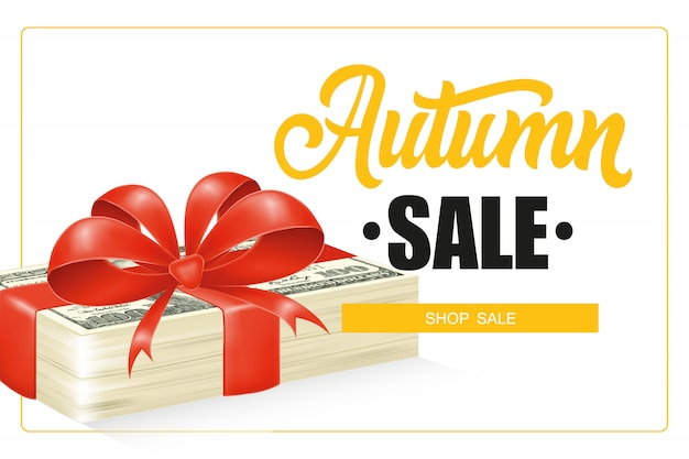 Autumn sale lettering in frame and dollar bills stack with bow