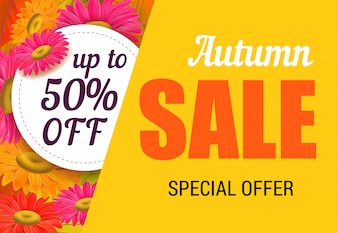 明るい花の秋の販売レタリング。秋の提供または販売広告